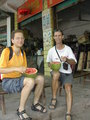 #6: Eating watermelon with a spoon.  We calculated that we both consumed 30 liters of water that hot day.