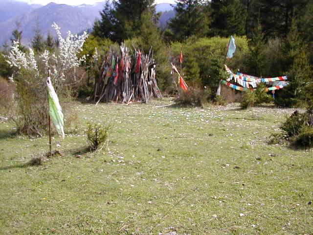 Tibetan Prayer Flags marking a sacred spot