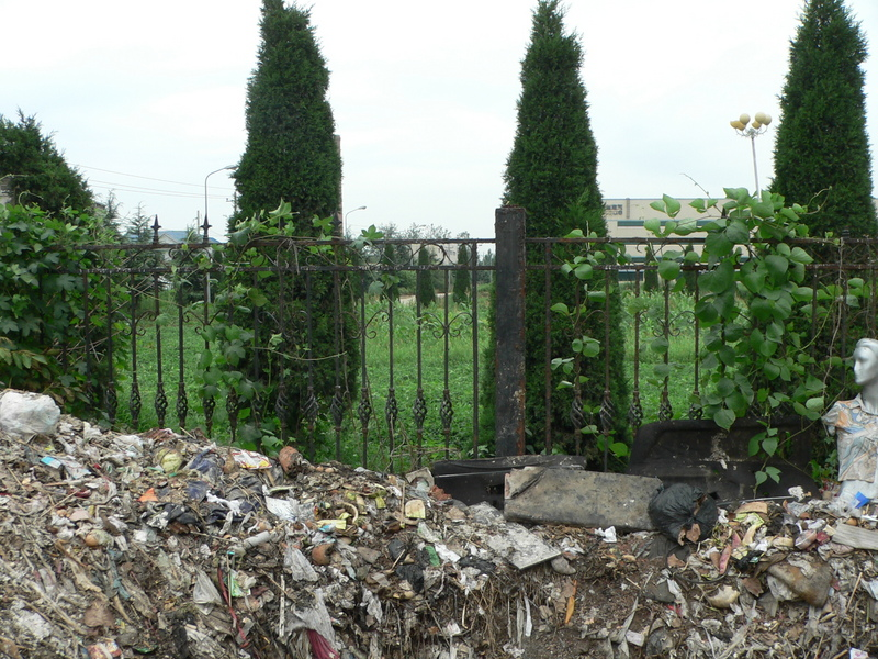 Another view from a mound of rotting garbage piled against the front fence; the confluence likely on or near the cement road just visible in the centre of the photo