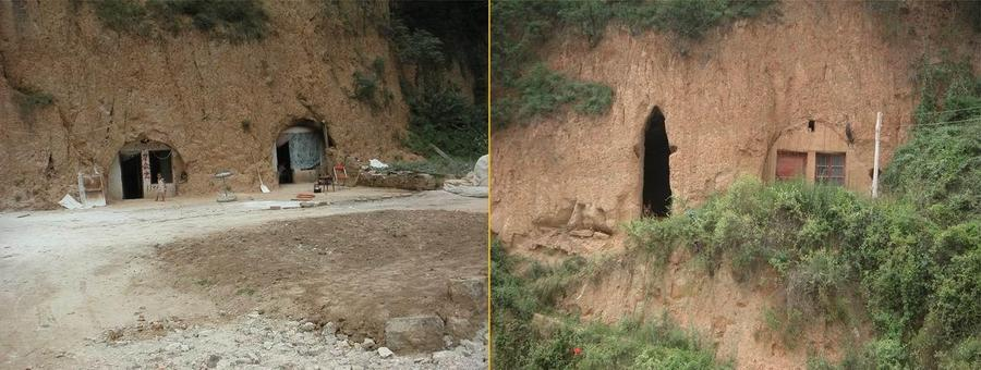 Cave dwellings - an office and a home and a home with a guard dog