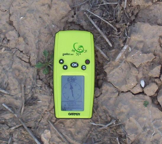 The GPS handset at the exact spot of the confluence
