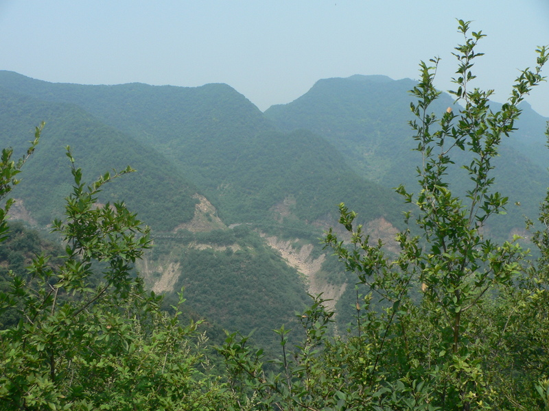 Looking north, with the road just visible on the mountainside opposite