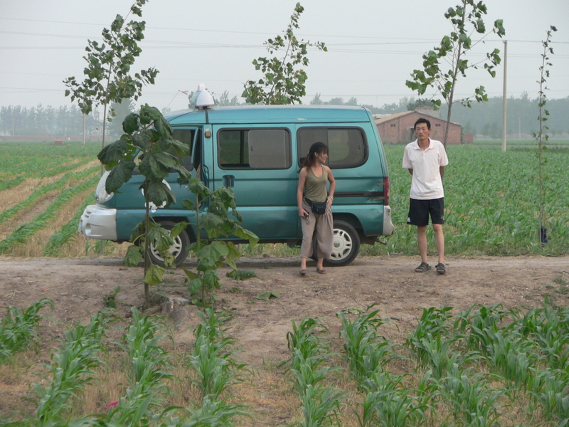 Ah Feng with our minivan and driver, on the track 155 m south of the confluence