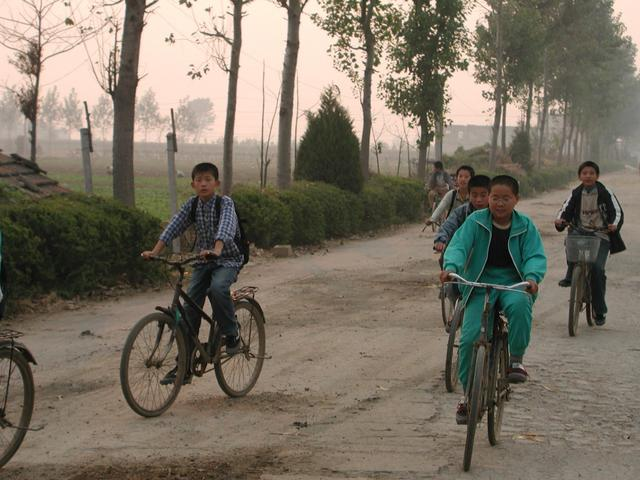 School children going home - the road 200 meters from the CP
