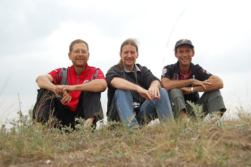 Confluence hunters - left to right, Rainer, Targ, and Peter
