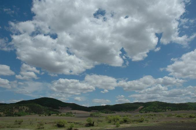 A distant view of the confleunce area with great sky