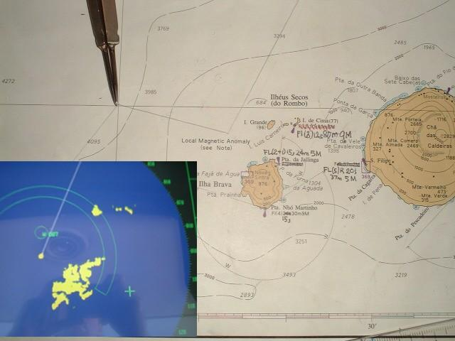 Chart of the area with the course and radar screen