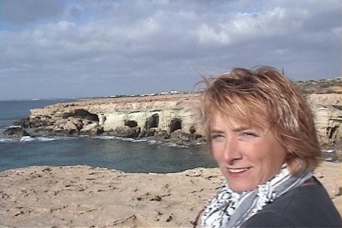 Lise in front of the Sea Caves at Cape Greco