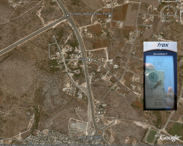 Google Earth image with GPS reading