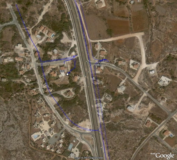 "My ""long"" path around the confluence in Google Earth... :-((("