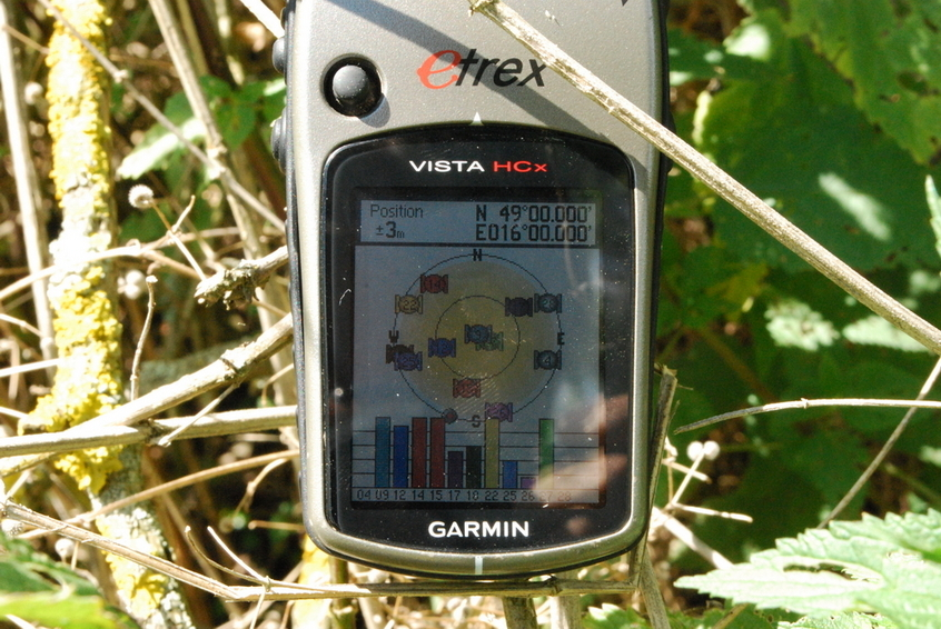 GPS reading at 49N 16E