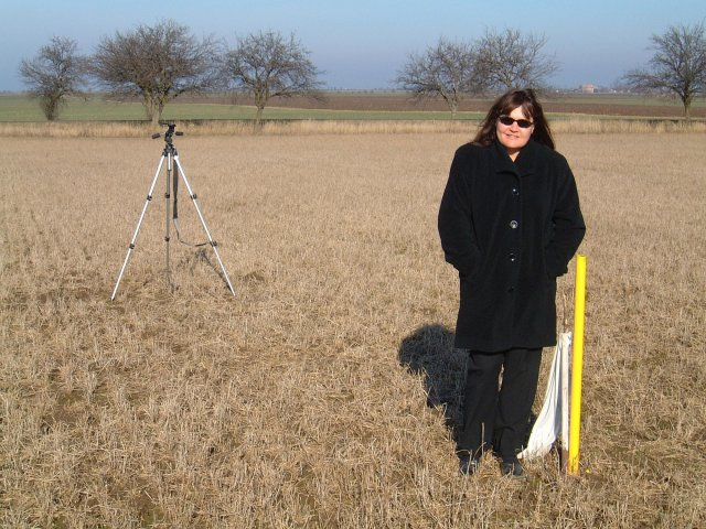 My wife, Debra Childs.  My tripod is rigged over the spot shown to be the confluence on my GPS.