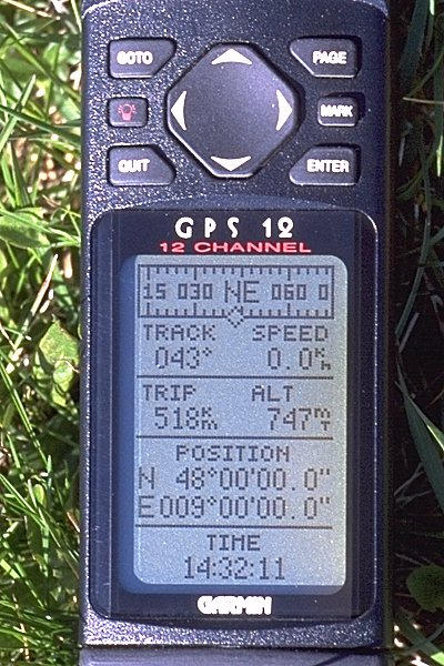 GPS display at the confluence