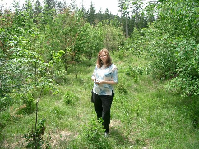 Susanne at the forest aisle