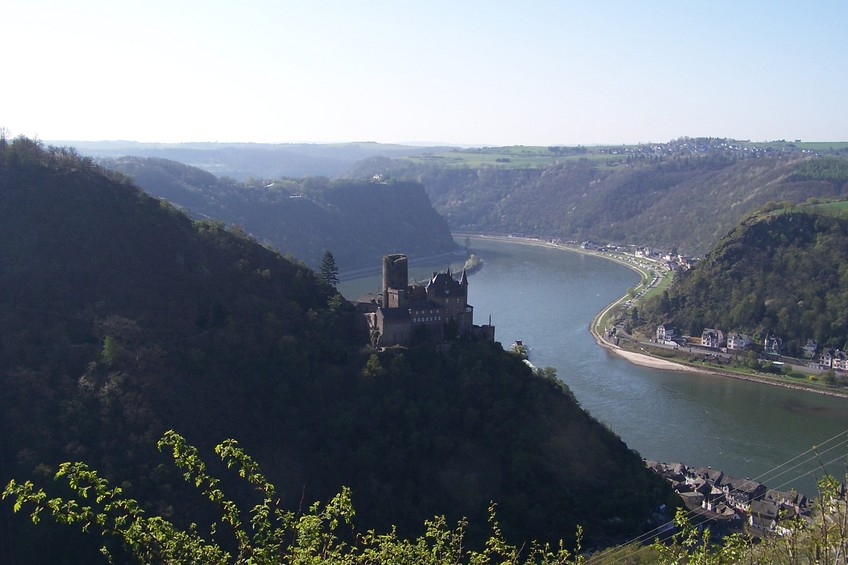 Burg Katz (Cat Castle) and the Lorelei Rock on the Rhine