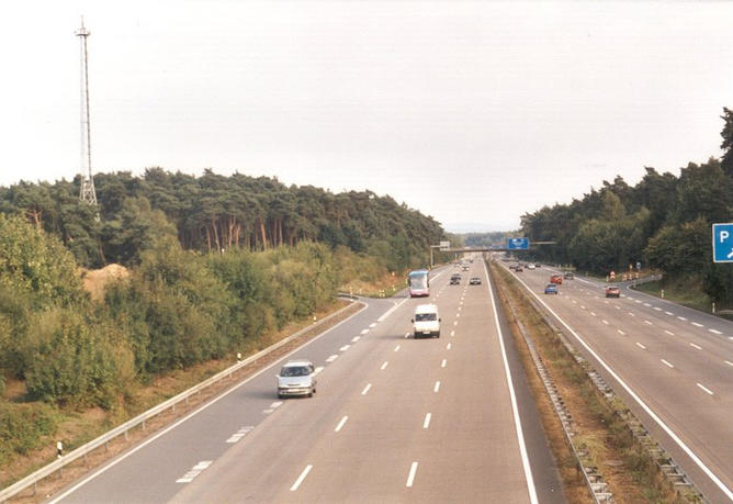 View of the Autobahn A3 looking east towards the CP (1 km away)