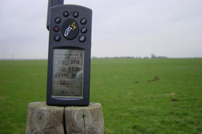 GPS on a fence post about 20 meters away from the confluence