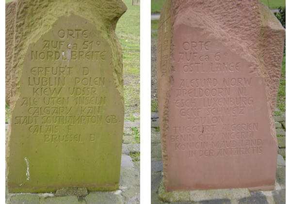 Inscriptions on landmark