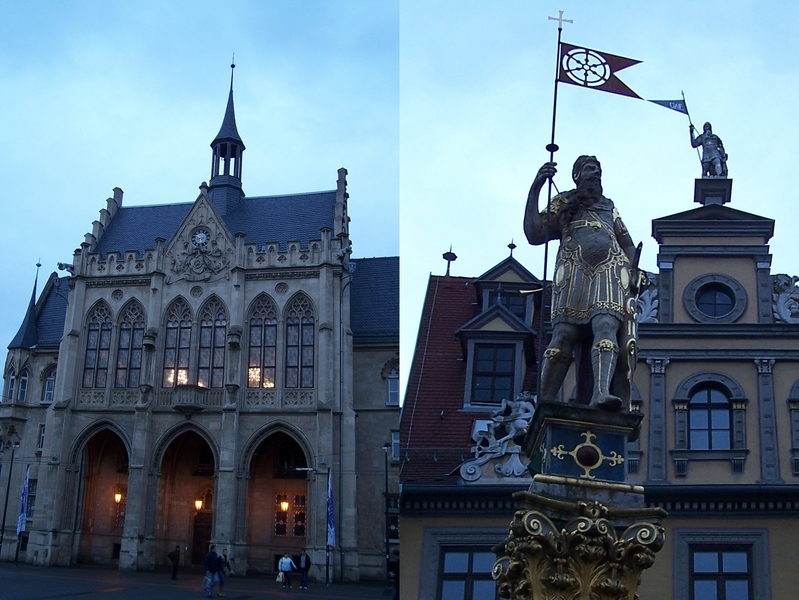 Erfurt - City Hall and the statue of a Roman warrior