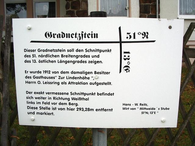Schild am Gradnetzstein / Sign at the gridstone