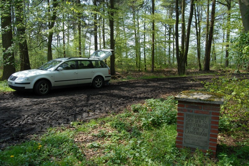 Parking next to the marker stone