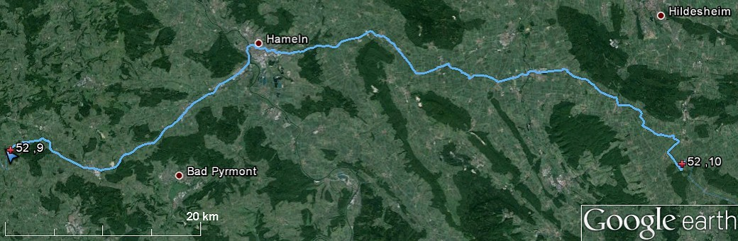 Route from 52N10E to 52N9E via Hameln