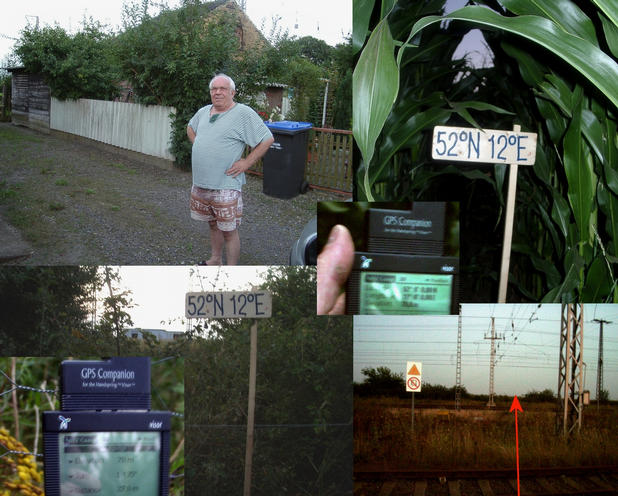 Local house owner and the confluence with GPS reading