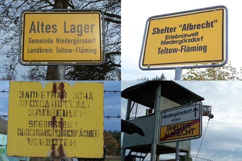 Information and warning signs near the shelter