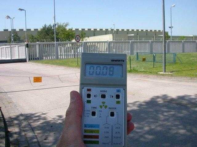 My geiger counter at the nuclear waste depot in Gorleben