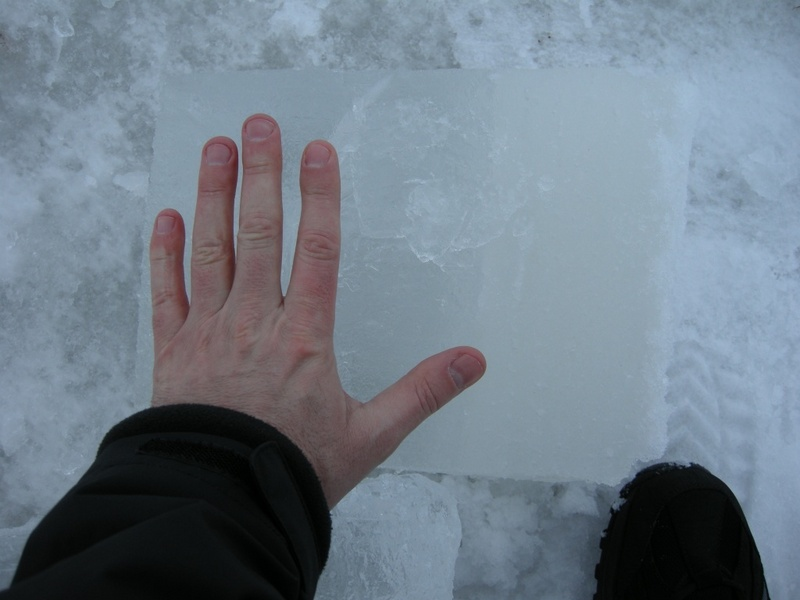 Thickness of ice
