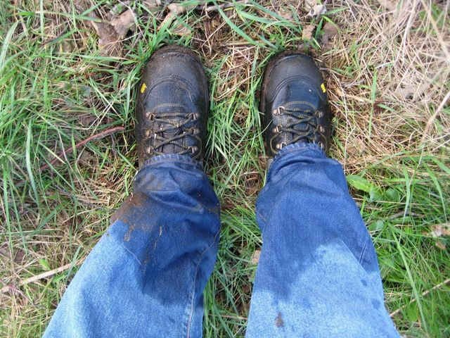 Wet feet after jumping over the trench....