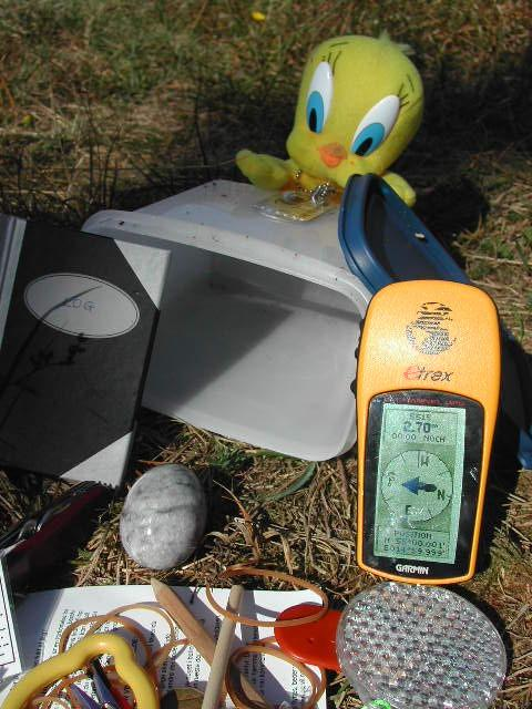 Nearby geocache with TB Tweety joining us from now on