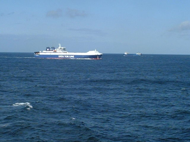 A ferry overtaking Captain Peter in the Skagerrak