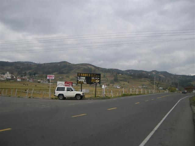 Our car at the turnoff from the panamerican, the confluence is situated on the small hills in the background