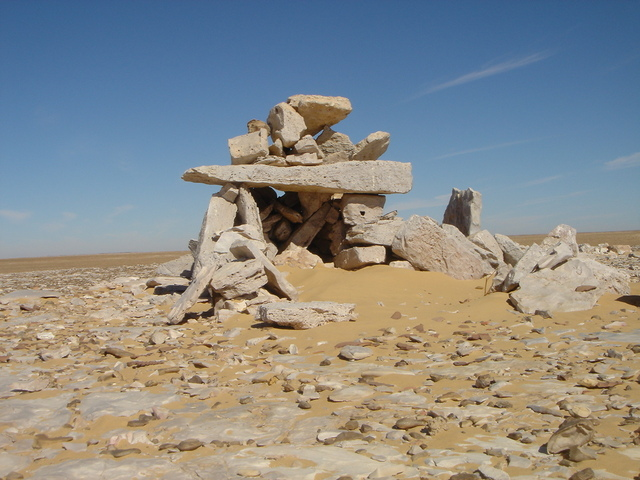 "The ""Great Cairn"" at the branch point in the camel caravan trails, mounds of pottery similar to what we had found the previous day were close by"