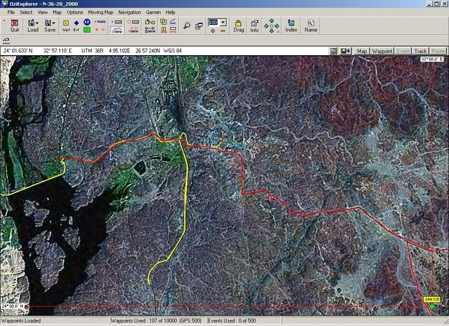 OziExplorer map of tracks: The red track on the sat imagery is what I had digitized; the yellow is the track that we drove