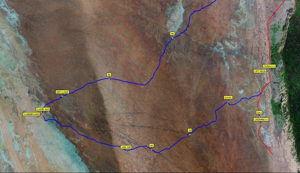 Sat imagery showing track log and waypoints at the dark streaks