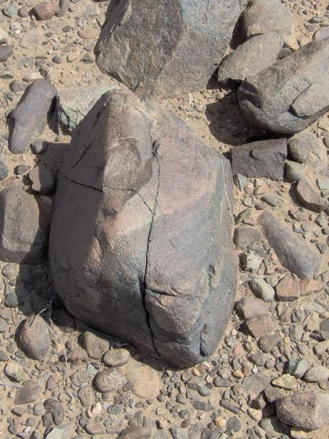 A typically shattered rock