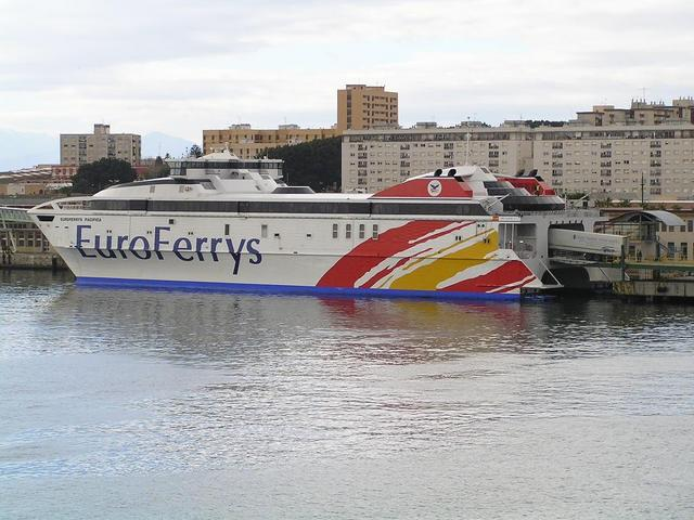 A Ro-Ro ferry alongside in the port of Ceuta