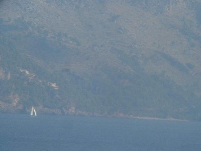 the steep-to N coast of Mallorca in a closer view
