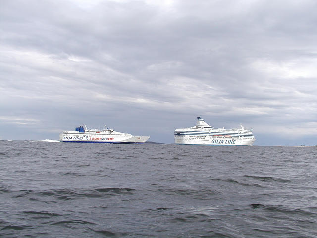 Ferry between Helsinki and Tallinn (Seacat) and another between Helsinki and Stockholm (SiljaLine)
