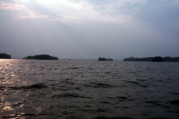 Summer landscape surrounding the Confluence on lake Pyhäjärvi
