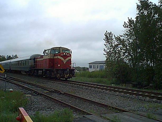 A passenger train on its way to Vaasa, spotted on a railway crossing 2km from the confluence.