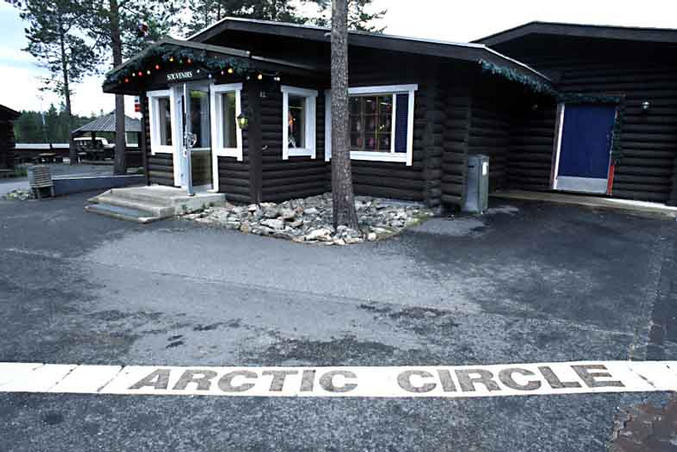 The Arctic Circle line in Santa Claus Village