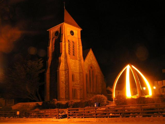 The cathedral of Stanley/Puerto Argentino and the monument made of whale bones
