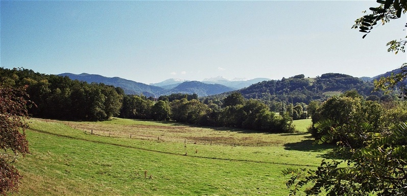 view south to the Pyrenees, 8 km E of the CP