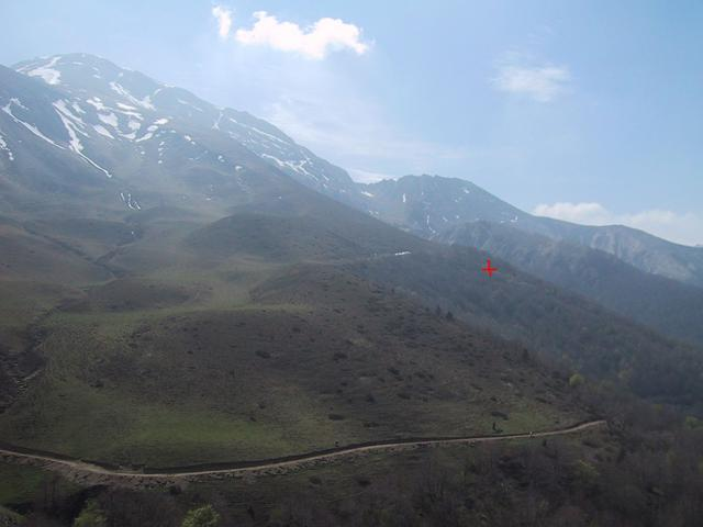 View SW to the confluence (shown in orange) from the road to the pass of Erroymendi