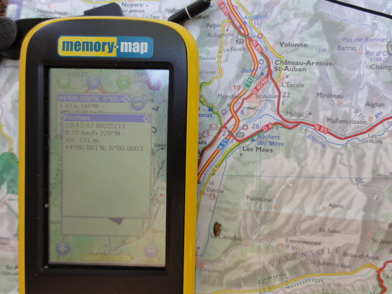 GPS screen and area road map