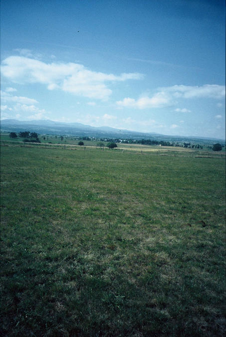 view to the west with the Cantal mountains in the background