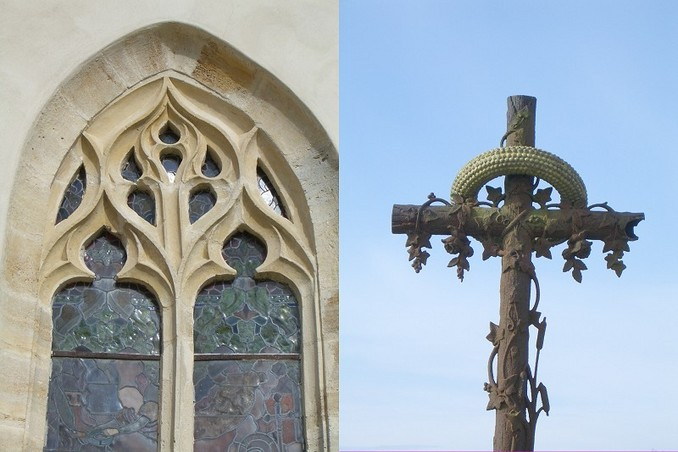 Church window and decorated cross